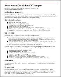 Handyman Caretaker CV Sample