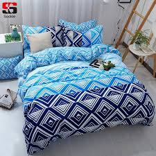 sookie blue plaid bedding set twin full queen king size duvet cover sets modern geometric print bedclothes soft bed linen king duvet sets duvets for
