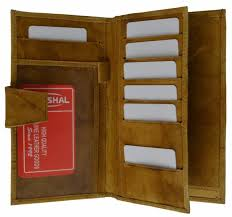 las long credit card id money pen holder leather checkbook wallet tan new