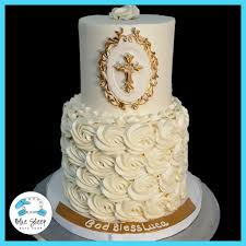 White And Gold Rosette Christening Cake Nj Blue Sheep Bake Shop