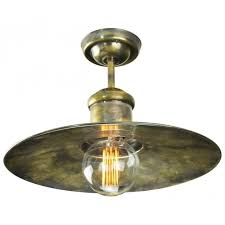 vintage ceiling lighting. Vintage Industrial Design Flush Ceiling Light In Antique Brass With Decorative Bulb Lighting
