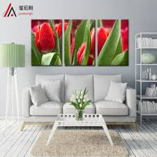 >3 piece modular picture definition red tulips bright dripping large  3 piece modular picture definition red tulips bright dripping large canvas print wall art home decoration modern painting print in painting calligraphy