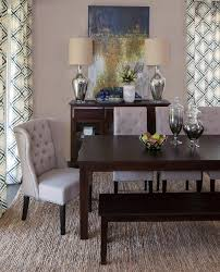 furniture brown wood dining table with banquette bench on sisal charcoal rug io metro