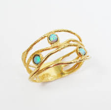 opal gold ring 14k yellow gold opal ring gift for her opal jewelry
