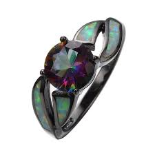 charming white fire opal ring colorful sappjire men women rainbow jewelry black gold filled enement rings