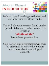 CLICK ON THE PERIODIC TABLE 1 ADOPT AN ELEMENT Adopt an Element ...