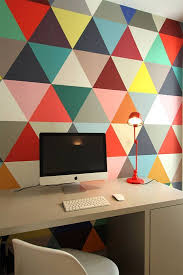 colorful home office. awesome idea colorful geometric wall for the office great space design home