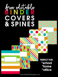 Free Editable Binder Covers And Spines Back To School Binder Covers Free Editable Binder Cover