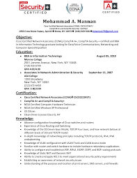 Cisco Voice Engineer Sample Resume Best Resume Of Mohammad Mannan