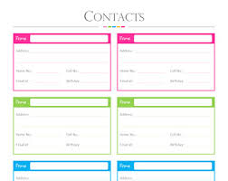Cute Contact List Template Contact List Template Pdf Mobile Discoveries