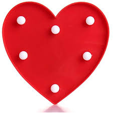 Kids Red Night Light Hitommy Cute 11 Led Marquee Heart Night Light Battery Lamp