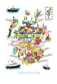 the scotland food map illustration postcard mini print  liv wan