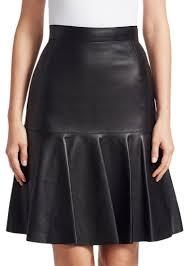 akris punto ruffled leather fit flare skirt