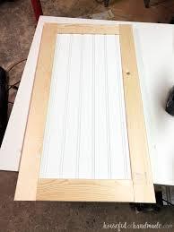 unfinished shaker style cabinet door with beadboard panel build cabinet doors housefulofhandmade