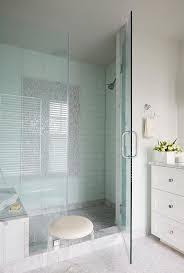 blue glass grid shower tiles