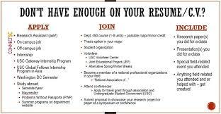 resume for undergraduate resume c v usc dana and david dornsife college of letters