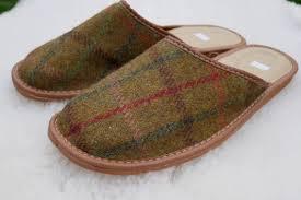Irish Tweed & <b>genuine</b> leather Mens slippers-<b>FREE SHIPPING</b>-with ...