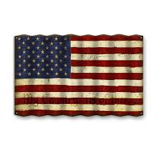 american flag with phrase corrugated metal sign