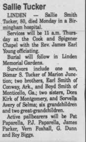 Obituary for Sallie Smith Tucker (Aged 80) - Newspapers.com
