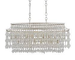 misty glass beaded rectangular chandelier