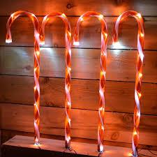 Light Up Garden Candy Canes 4pc Light Up Candy Cane Set