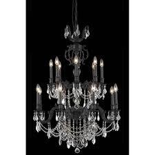 elegant lighting mille dark bronze 16 light chandelier with royal cut crystal