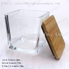 square wooden bamboo lid of glass container images