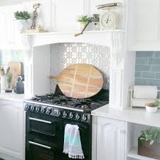 rustic vintage kitchen pressed tin subway splashback tiles