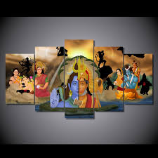 modern home wall art decor pictures hd printed 5 pieces hanuman and shiva painting india buddhism ganesha canvas posters frame