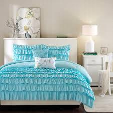 elegant romantic blue ruffle bedding twin xl full queen girl comforter set pillows