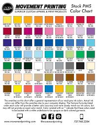Dye Sublimation Color Chart Pms Color Chart Movement Printing