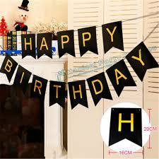 Happy Birthday Banners Personalized 1 Set Happy Birthday Banner Black And Gold Personalized Banner Happy