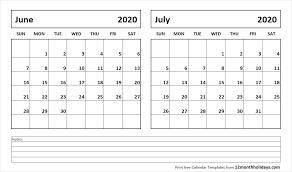 June July 2020 Calendar Print June July 2020 Calendar Template 2 Month Calendar