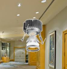 recessed cans in museum with led array overlay