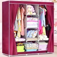non woven fabric portable wardrobe closet storage organizer with shelving dk wf1611