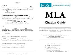 Mla Citation Mla Citation Guide Middlesex Community College Middletown Ct