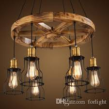 pendant lights creative wooden chandelier lamps personalized american industrial vintage chandeliers theme restaurant cafe porch club bar pendant light cord
