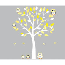 yellow and grey owl art for kids with tree decal for nursery for girls on yellow and grey wall art nursery with yellow and grey owl wall art with white tree wall decal for girls