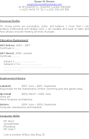 Cv Sample For First Job 7 My College Scout