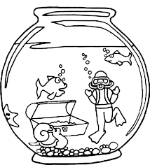 Small Picture Fish and Diver in Fish Bowl Coloring Page Download Print