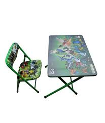 Happy Kids Foldable Study Table And Chair - Ben 10 (green)