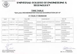 circular ucetucet  diploma 1st mid semester time table