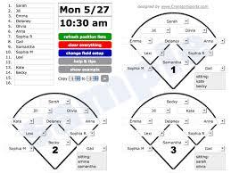 10 Player Baseball Position Chart Baseball Softball Game Sheet
