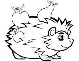 Cute Hedgehog With Fruits Coloring Page Free Printable Coloring Pages