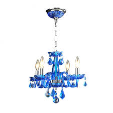 clarion collection 4 light chrome finish and sapphire blue crystal chandelier 16 d x 12