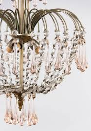 vintage murano pink teardrop and crystal chandelier 1950s in good condition for in austin