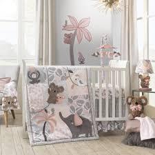 lambs ivy calypso 4 piece crib bedding set pink gray gold