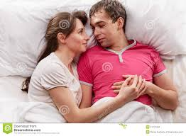 Lovely Couple In Bed Lying In Bedroom Young Lovely Couple Lying Bed Stock Photos Images Pictures
