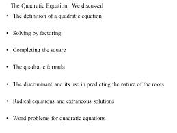 solutions word problems for quadratic equations the quadratic equation we discussed