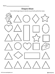Triangle Shape Maze Printable Worksheet preschool printable worksheets myteachingstation com on complete subject worksheets